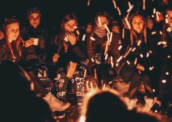Night bonfire gathering